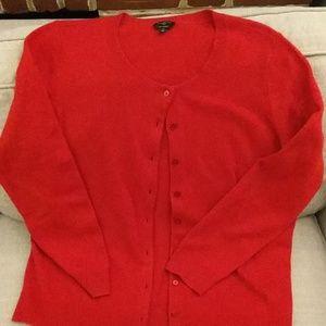 Talbot's 1x red cashmere cardigan